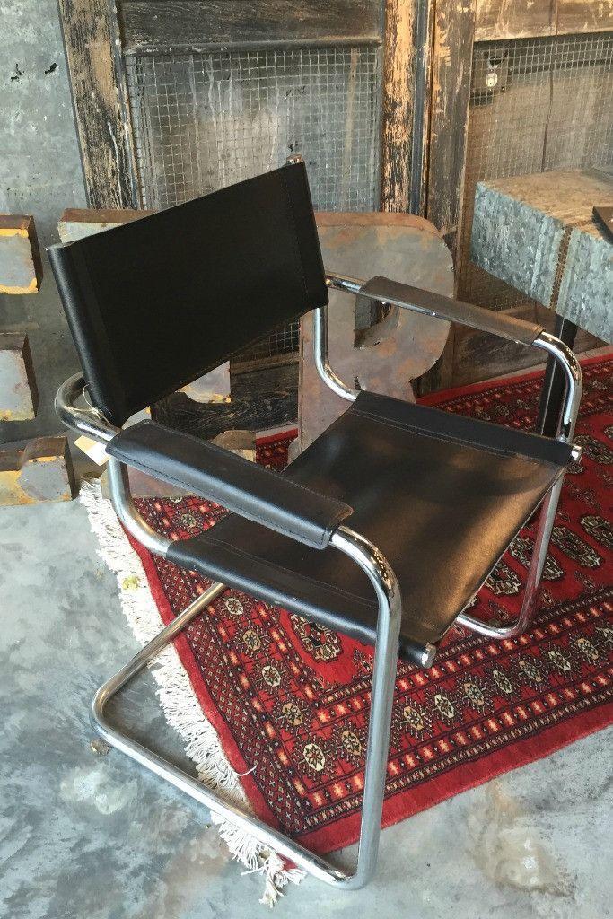 Italian Black Leather Chrome Chair Mid Century Chrome Chair
