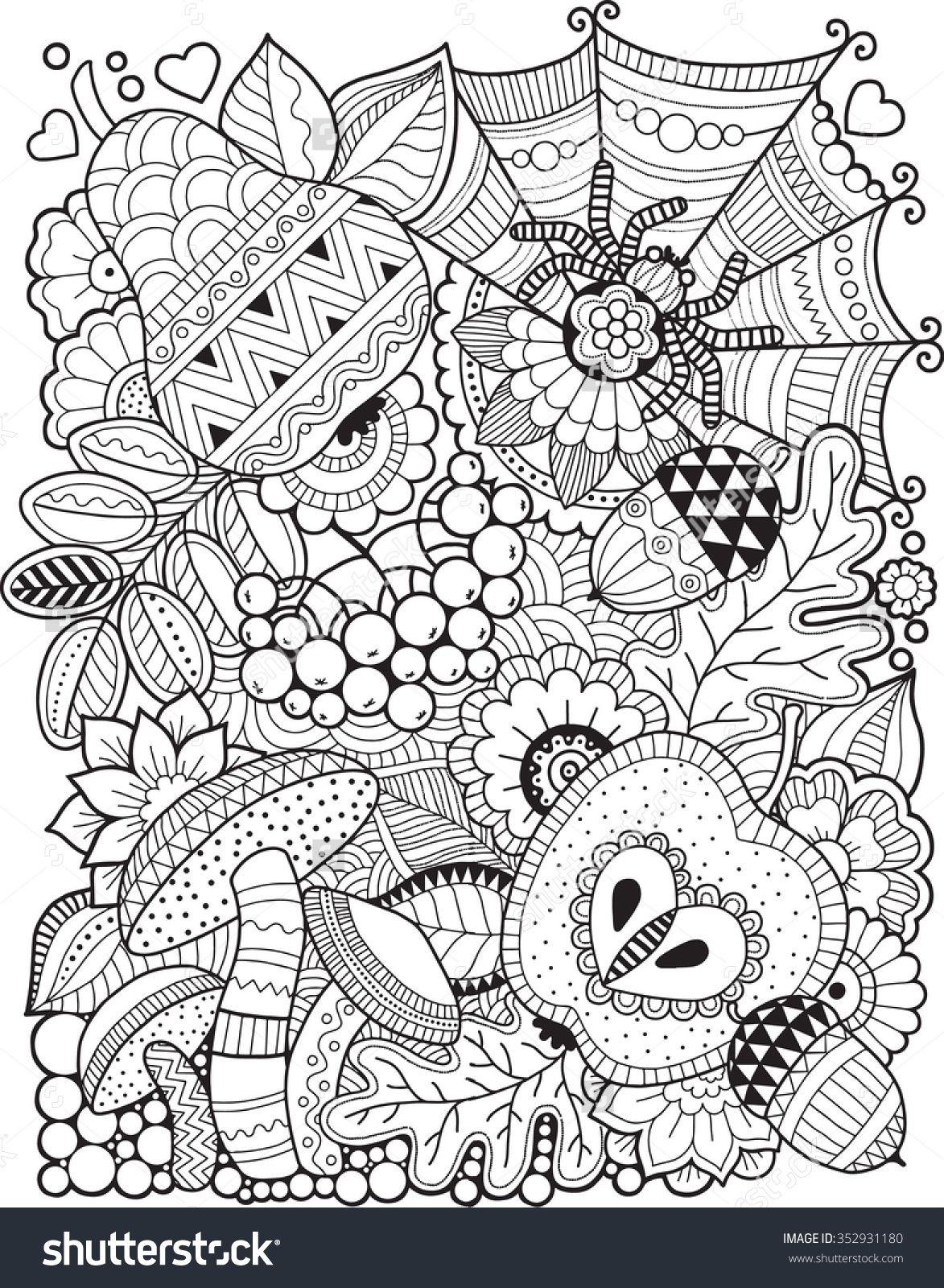 Hello Autumn. Coloring Book For Adult Стоковая векторная