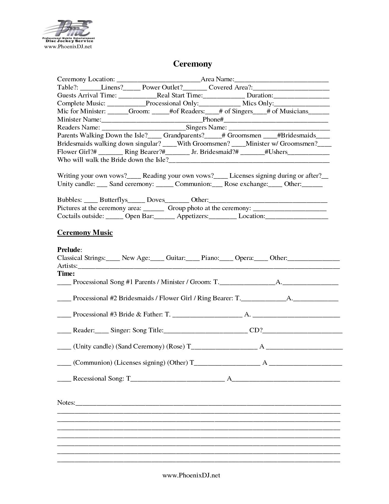 wedding ceremony planning worksheets conseils sur le blog de mariage. Black Bedroom Furniture Sets. Home Design Ideas