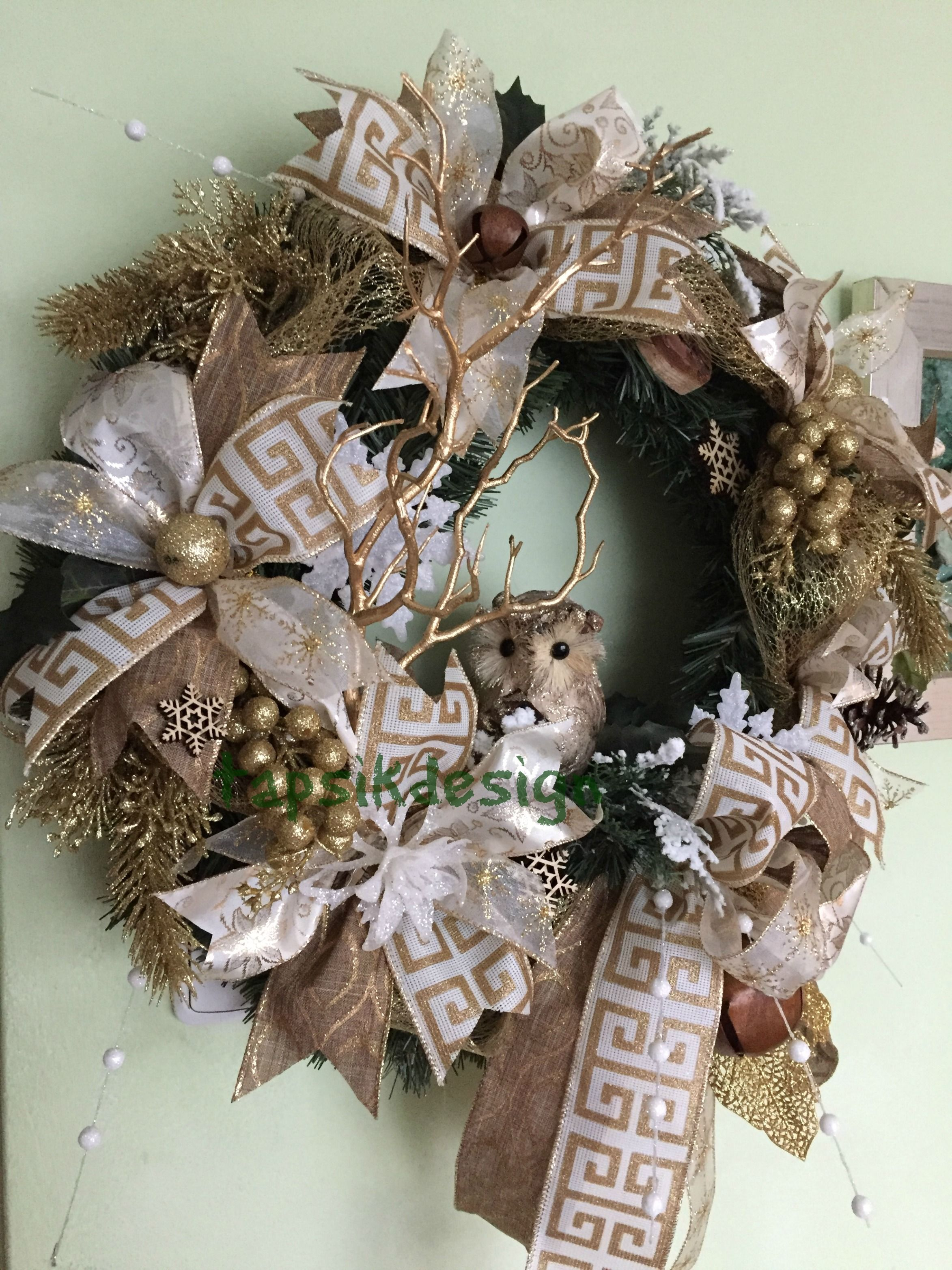 Christmas Wreath  Gold Colors Base Artificial Greenery Wreath, Different