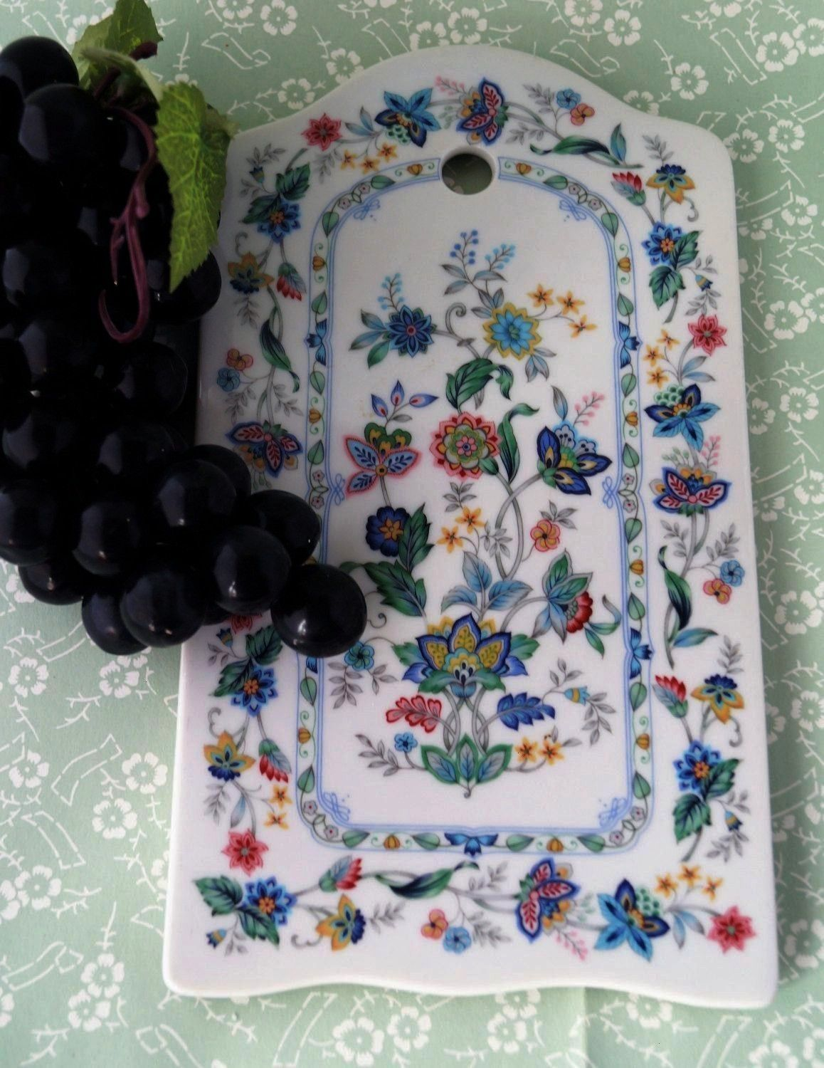 Andrea by Sadek Garden of India floral fine porcelain cheese board serving board or trivet So pretty and so useful A great gift An Andrea by Sadek Garden of India floral...