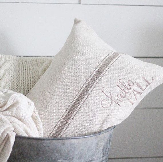 """These handmade vendor is amazing.  I love all her work, including this """"hello fall"""" pillow cover made out of a grain sack.  {{{aff.link}}}"""