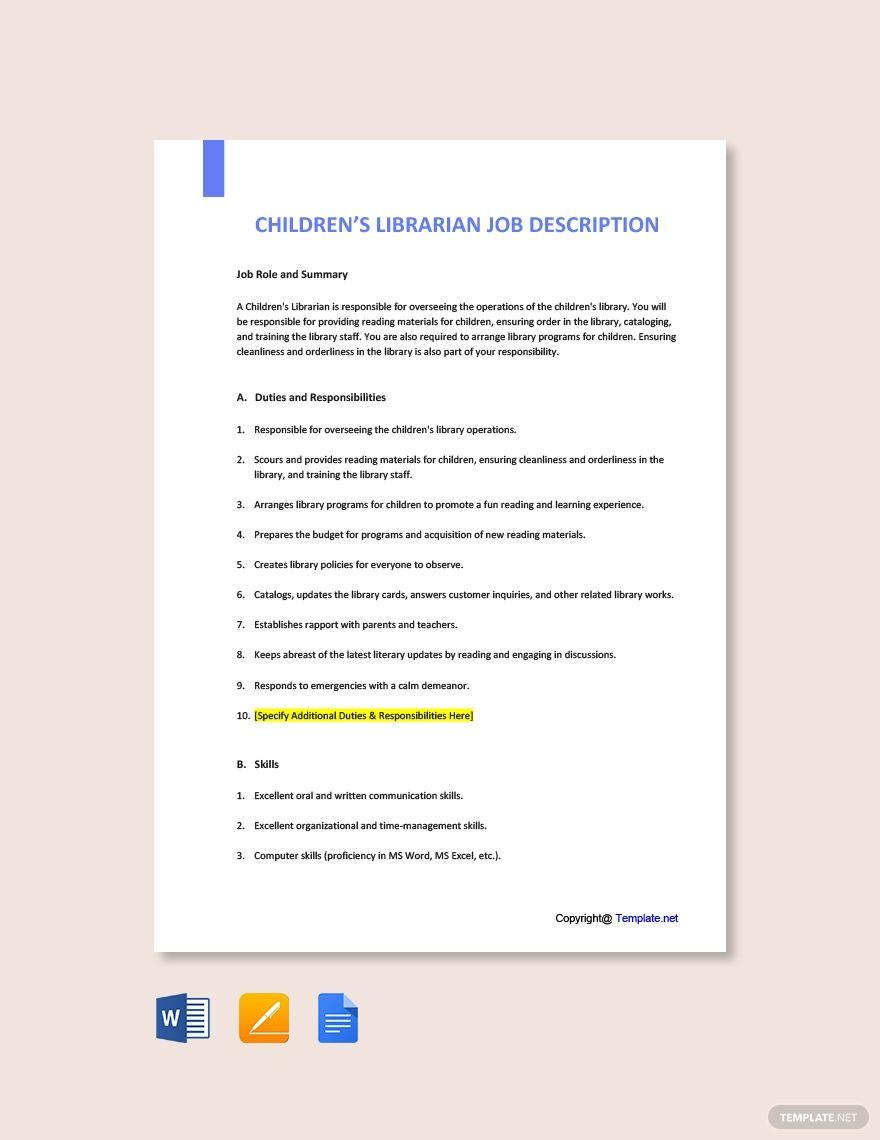 Free Children's Librarian Job Description Template in 2020