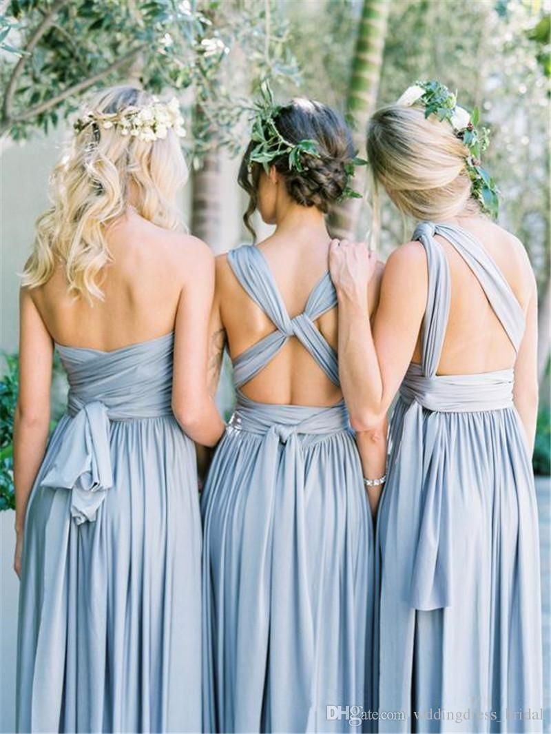 ca51d13ec6 2019 New Dusty Blue Covertible Bridesmaid Dresses Pleated Floor Length  Country Beach Wedding Guest Party Gowns Cheap Long Prom Dresses