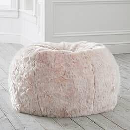 Mandala Carved Faux Headboard Bean Bag Chair Faux Fur
