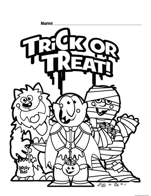 Free Printable Halloween Trick Or Treat Black And White Pictures Halloween Coloring Halloween Coloring Pages Halloween Coloring Sheets