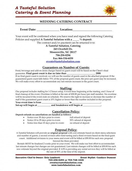 Sample Wedding Catering Contract Wedding Pinterest Food - event coordinator contract sample
