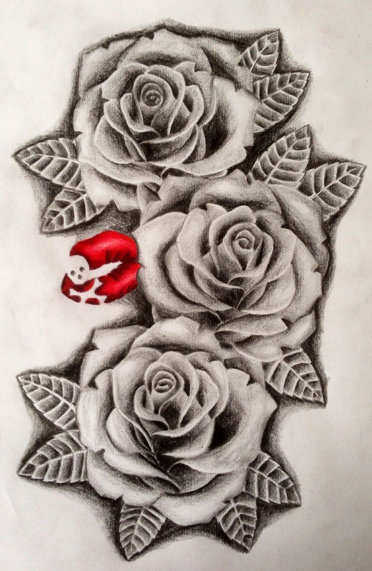 рисунки роз на руке картинки становится колено