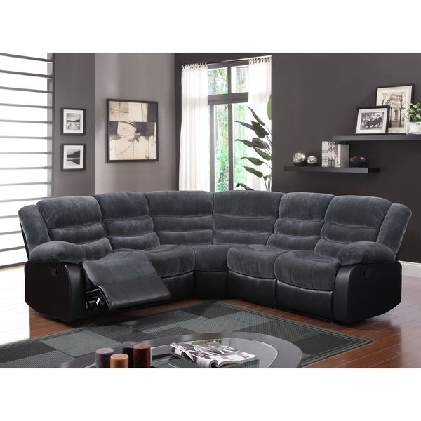 3 Piece Champion Thunder Black Sectional   Overstock Shopping   Big  Discounts On Sectional Sofas