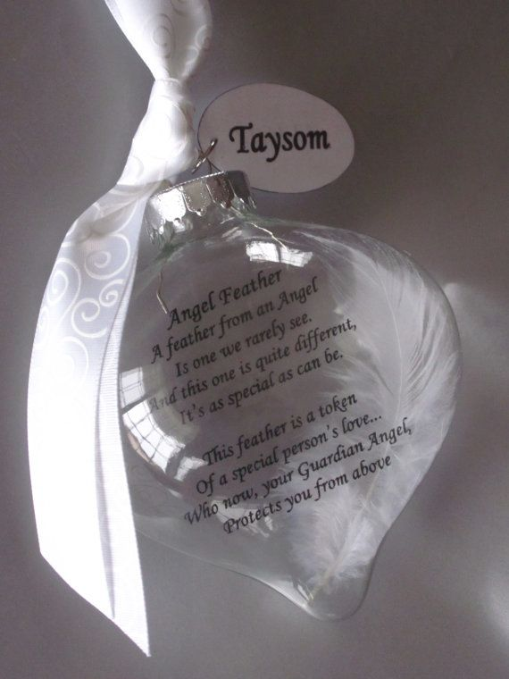 Guardian Angel Feather Poem Ornament Angel Wings Angel by Rychei