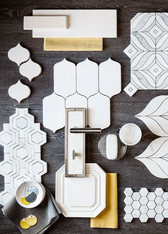 White and grey with a touch of yellow make a snappy modern statement. This collage of Walker Zanger tile features the many shapes in white we offer in our 6th Avenue, Studio Moderne, Tribeca, Jet Set and Tangent collections in marble and ceramic tile. The background is our Statale Fumo wood look porcelain. Imagine the possibilities...:
