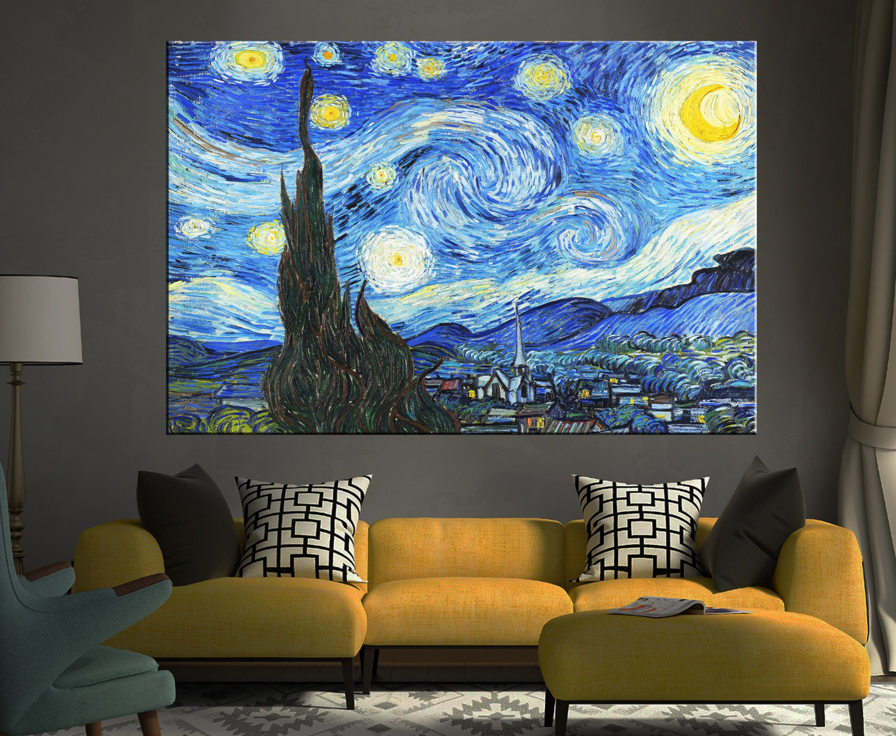 Discount Van Gogh Canvas Vincent Van Gogh Starry Night Etsy Starry Night Van Gogh Canvas Art Wall Decor Vincent Van Gogh