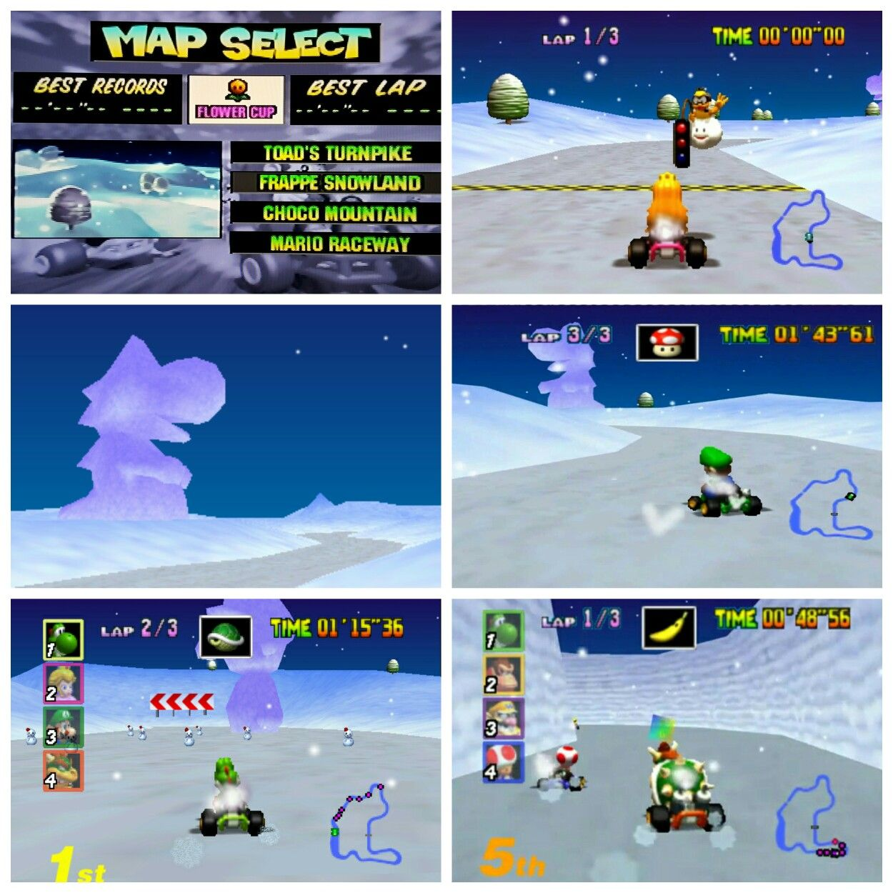 Mario Kart 64 Courses Frappe Snowland Screenshots