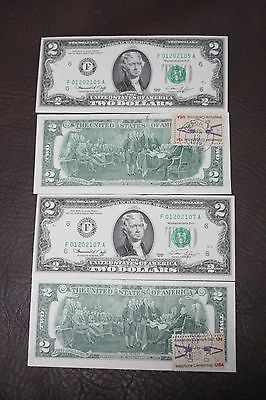 1976 2 TWO DOLLAR BILL FIRST DAY ISSUE WITH STAMP POST MARKED UNC