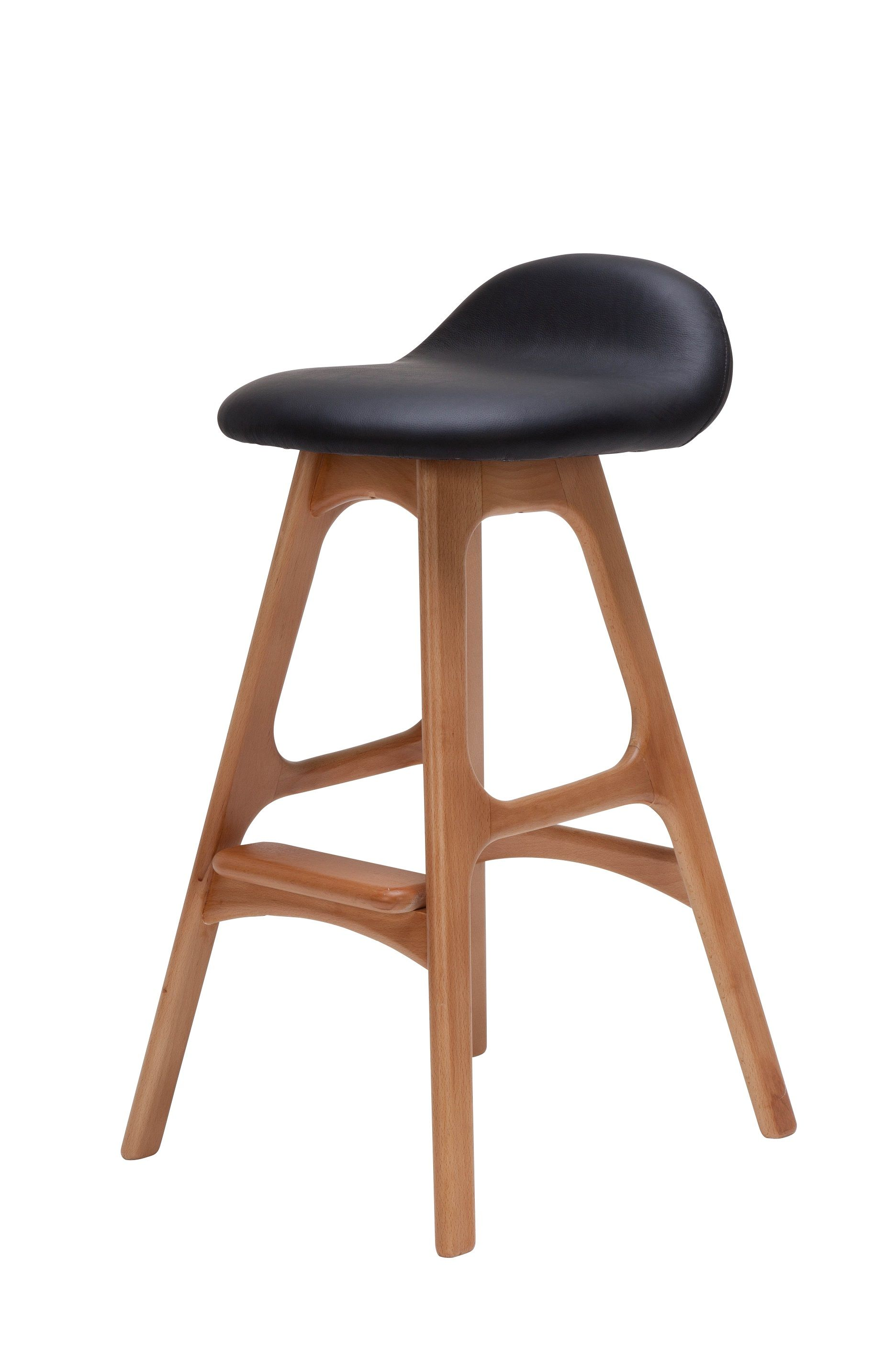 Minimalist Design Of Bar Stool Idea With Black Leatherette Top And Unique Wood Legs