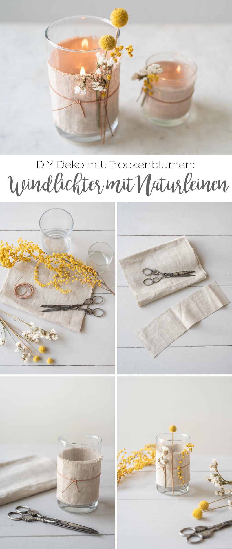 DIY – Deko mit Trockenblumen (1): Windlichter mit Leinen und Leder – Leelah Loves