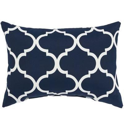 Home Decorators Collection Landview Navy Standard Outdoor Lumbar Pillow