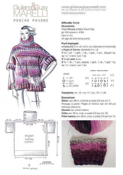 Pin de Pamela La Gioia en Knitting | Pinterest | Ponchos, Tejido y ...