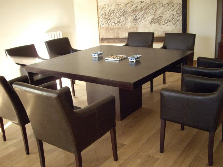 Wonderful Square Dining Table For 8 Family Elegant Set Dark Brown Pofidik Room Designs