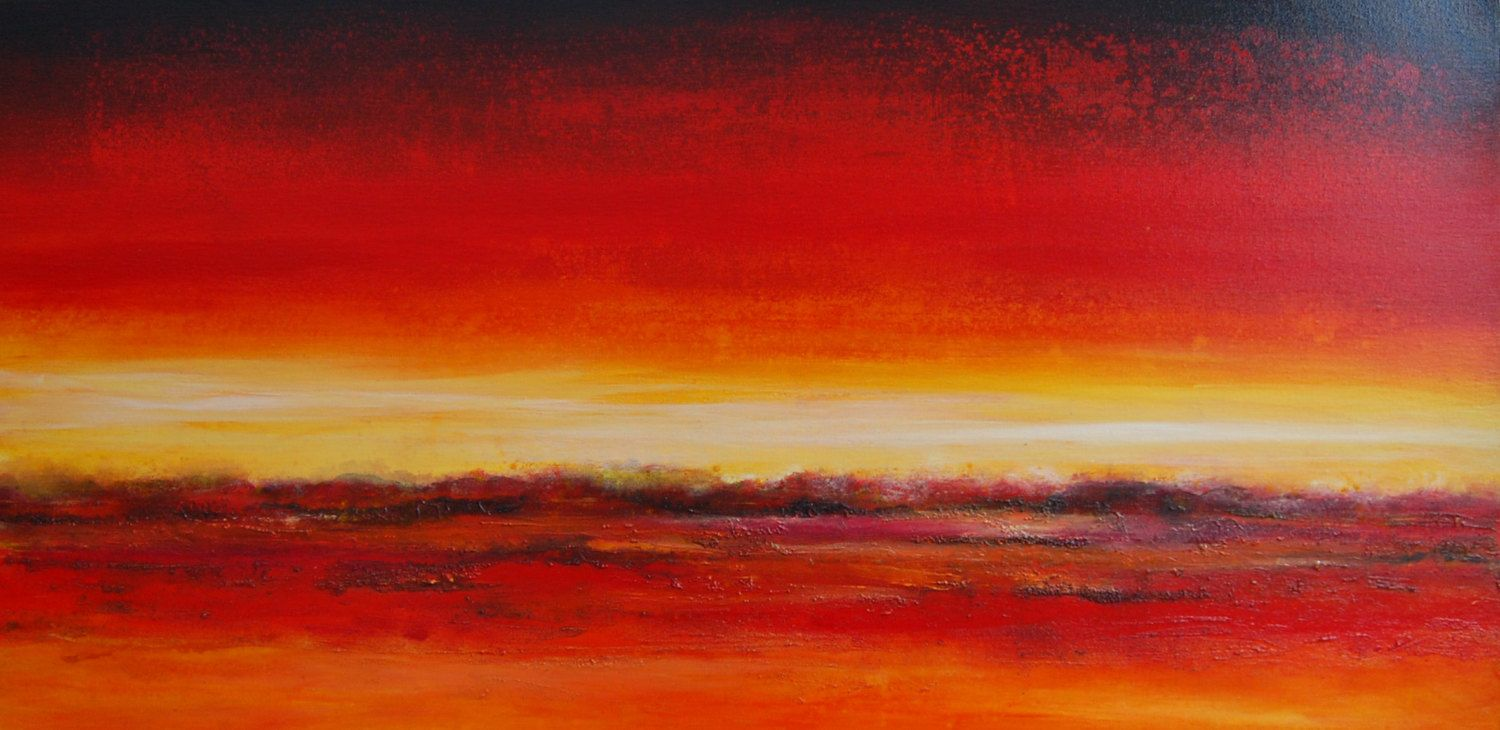 Abstract Landscape Painting Modern Canvas Art Contemporary Artwork Red Orange Yellow. £265.00, via Etsy.