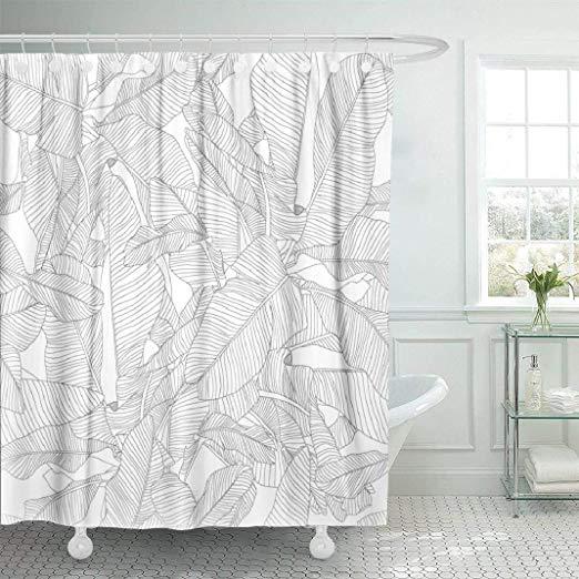 Amazon Com Lilymua White Fabric Bathroom Shower Curtains