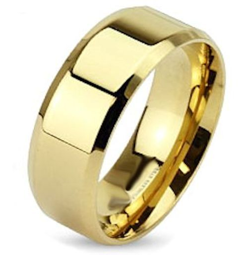 Ion Gold Plated Stainless Steel Wedding Band. This 8mm Stainless Wedding Band is constructed from 304L Stainless Steel. It is plated in yellow gold using a process called IPG (Ionic Plating Gold). If you have a 14k 18k or 22k gold wedding band that is showing scratches replace it with one of these to make the not available message shine.    Sizes 9-14