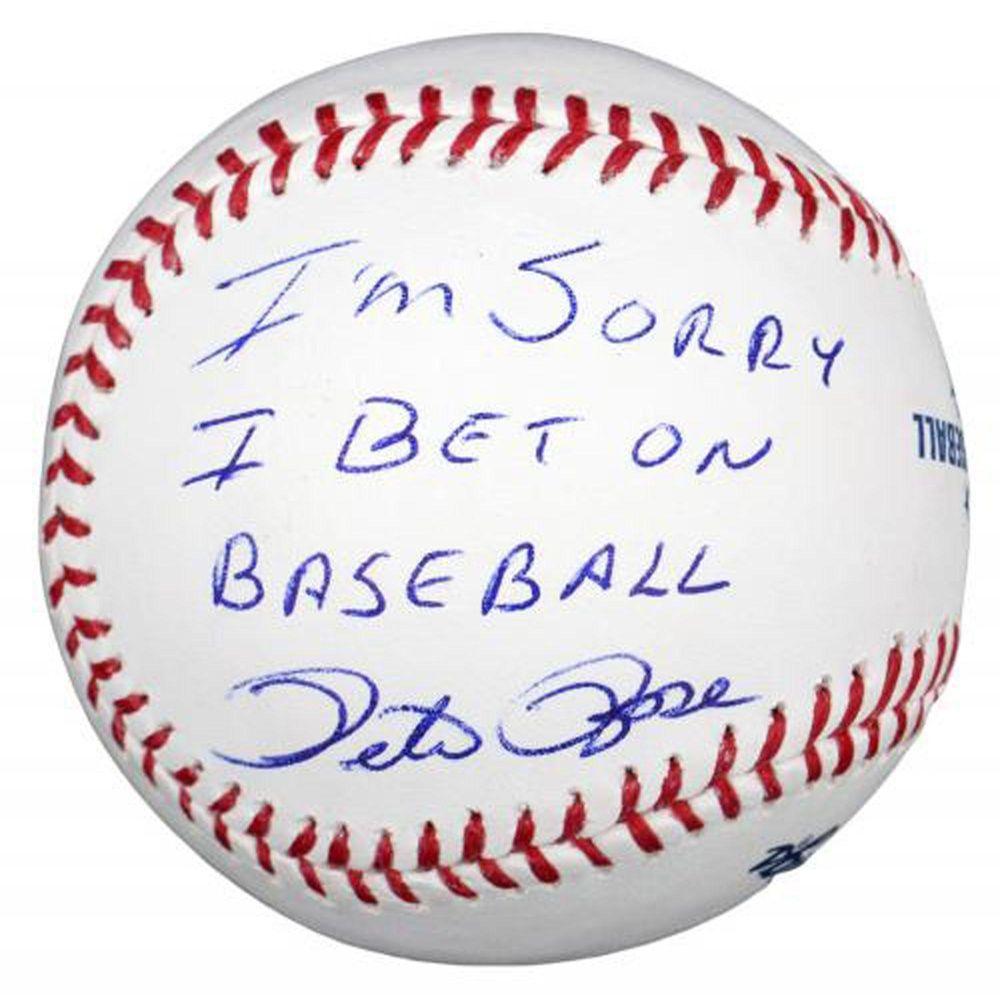 Pete Rose Autographed Baseball W I M Sorry I Bet On Baseball Jsa Certified Autographed Baseballs Baseball Online Baseball Quotes
