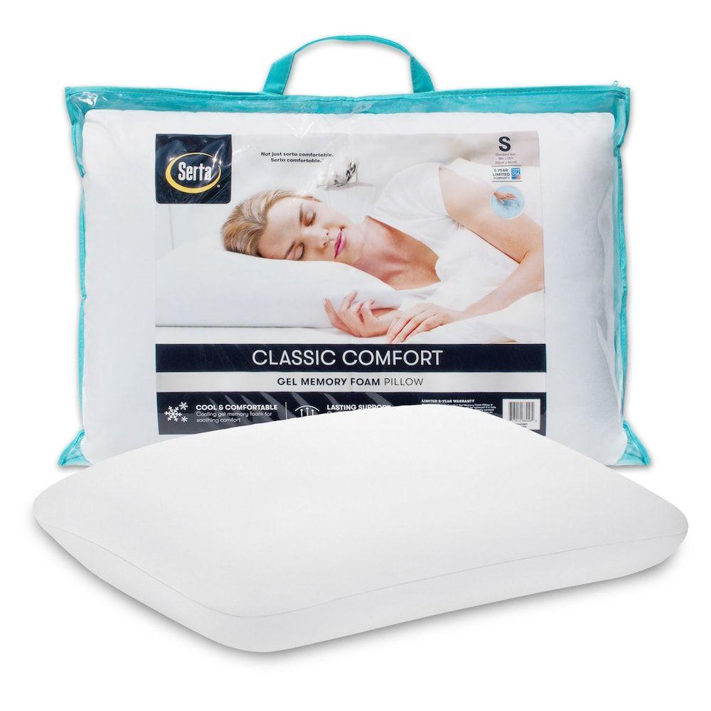 Serta Classic Comfort Gel Memory Foam Pillow White Queen Foam