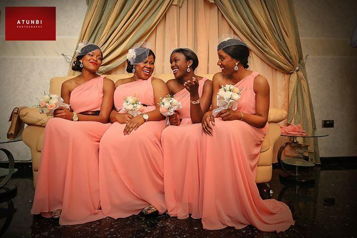 Nigerian Wedding Peach Bridesmaids Dresses Fascinators Peach