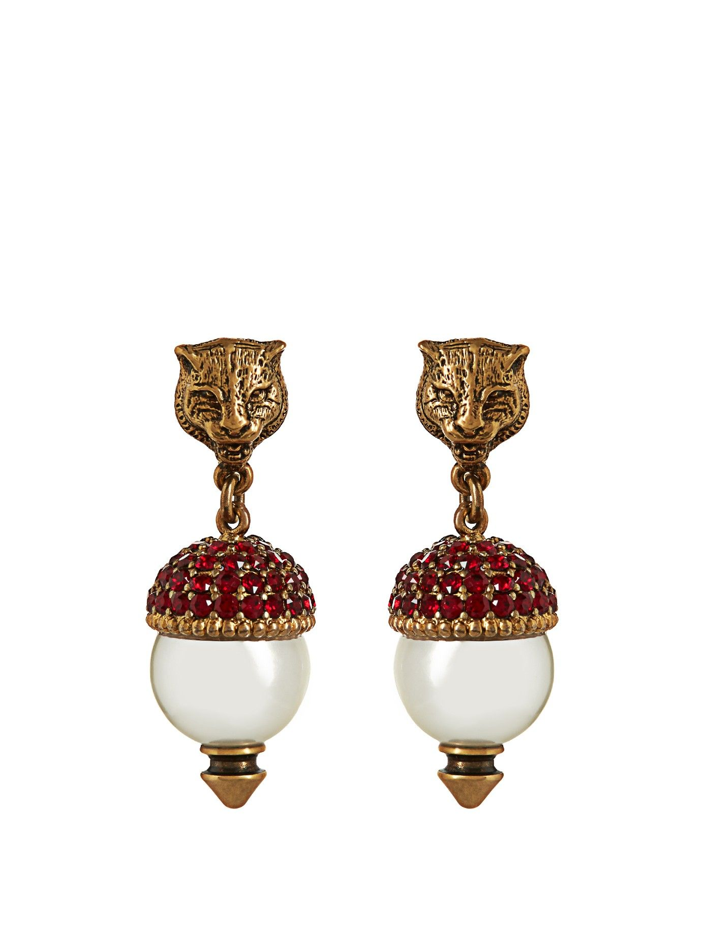 4412112d6ff Pearl-effect embellished feline earrings