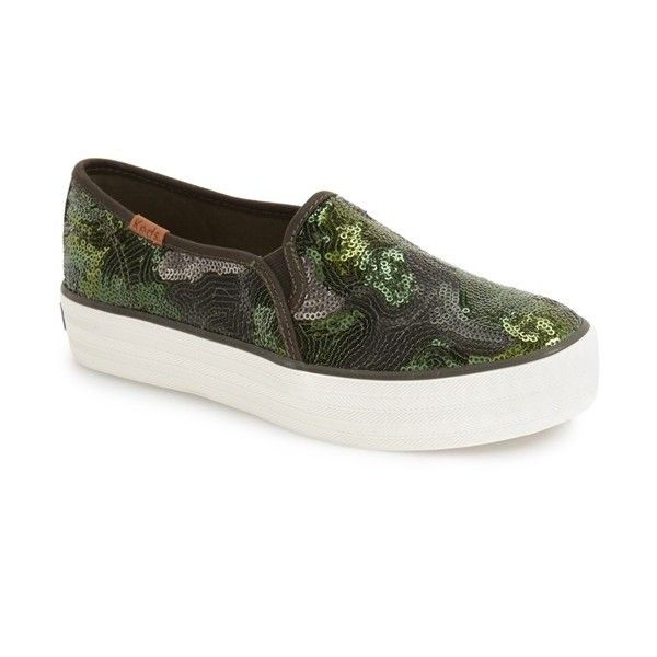 ed13903ef59b7 Women's Keds 'Triple Decker Sequin' Slip-On Platform Sneaker ($65) ❤ liked  on Polyvore featuring shoes, sneakers, olive, sequin sneakers, slip on shoes,  ...