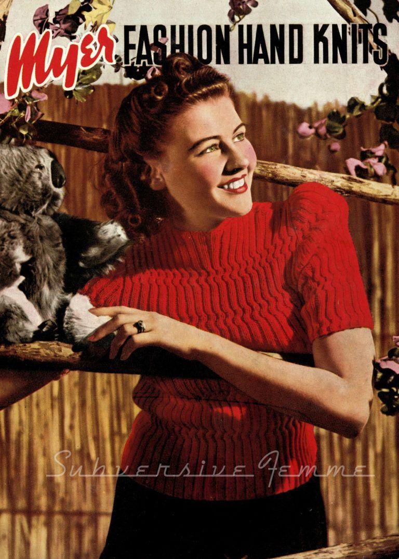 free vintage knitting pattern 1940s | ретро | Pinterest | 1940s ...