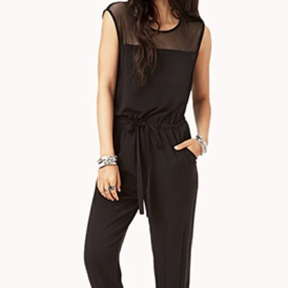 Mesh black jumpsuit romper with drawstring waist Can be worn w diff blazers shoes and jewelry to look like a diff outfit everyone. Brand new Dresses