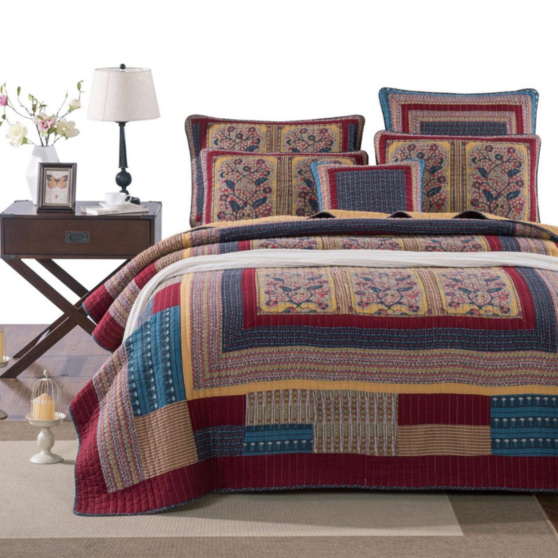 Vineyard Cottage Floral Patchwork Quilt Set By Tache Home Fashion