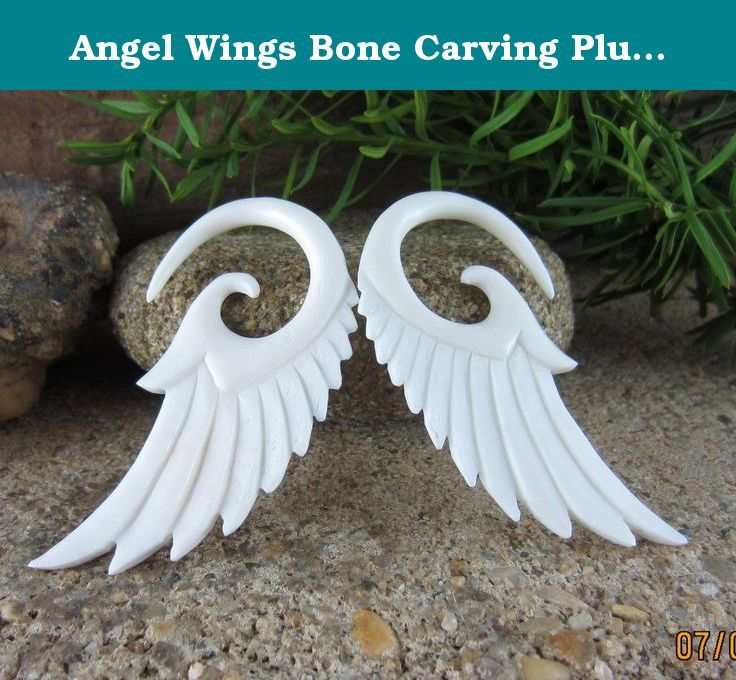 Bizuteria Do Piercingu Pair Hand Carved Tribal Feather Wing Bone Floral Spirals Taper Ear Plugs Gauges Bizuteria I Zegarki Mayoshop Org