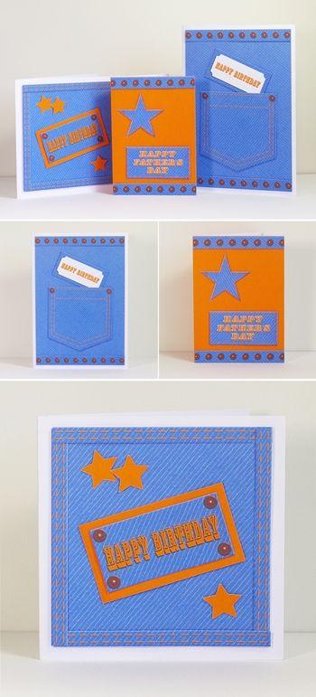 """le pdf contient deux papiers (effet denim et orange) et des embellissements (poche, bordures cloutées...) qui pourront être utilisés pour toutes vos créations... les étiquettes texte (""""Happy Birthday"""" et """"Happy Father's Day"""") pourront elles aussi être utilisées pour d'autres projets..."""