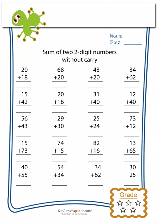 Double Digit Addition Without Carry Kidspressmagazine Com Kids Math Worksheets Math Multiplication