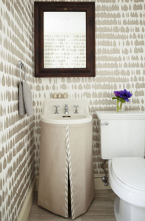 Taupe Powder Room Features White And Taupe Print Wallpaper, Byzantium  Wallcovering Collection Queen Of Spain