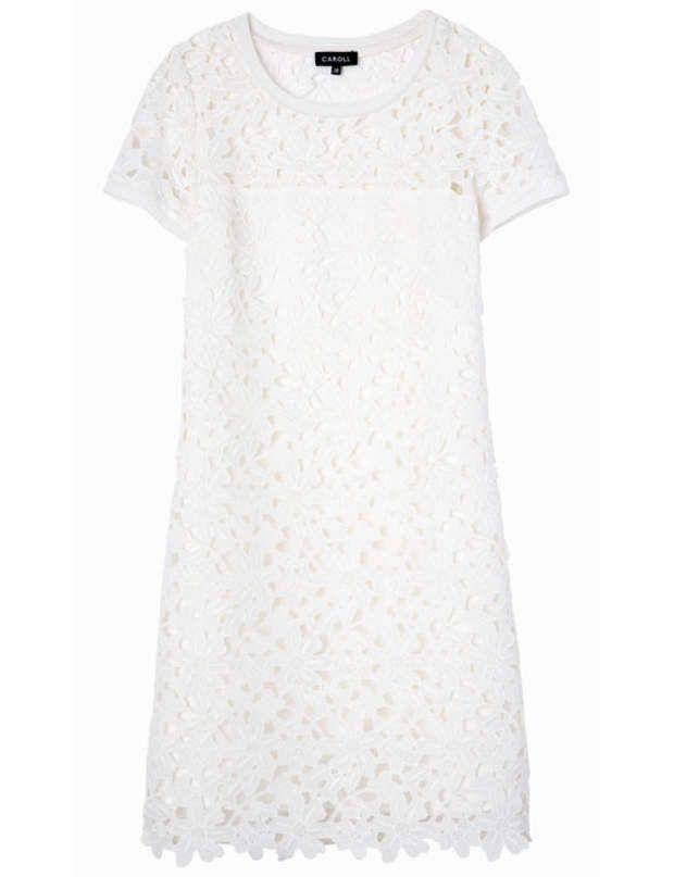 Robe blanche dentelle caroll