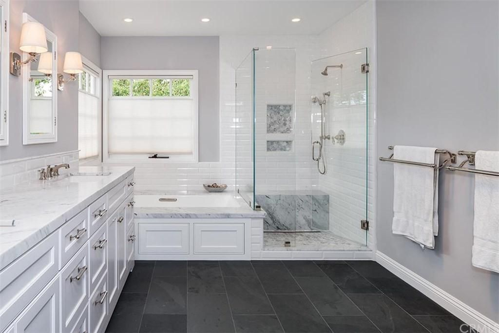 Traditional Master Bathroom With Montauk Black Slate Tile, MS  International, Undermount Sink, Subway Tile, Slate Tile Floors