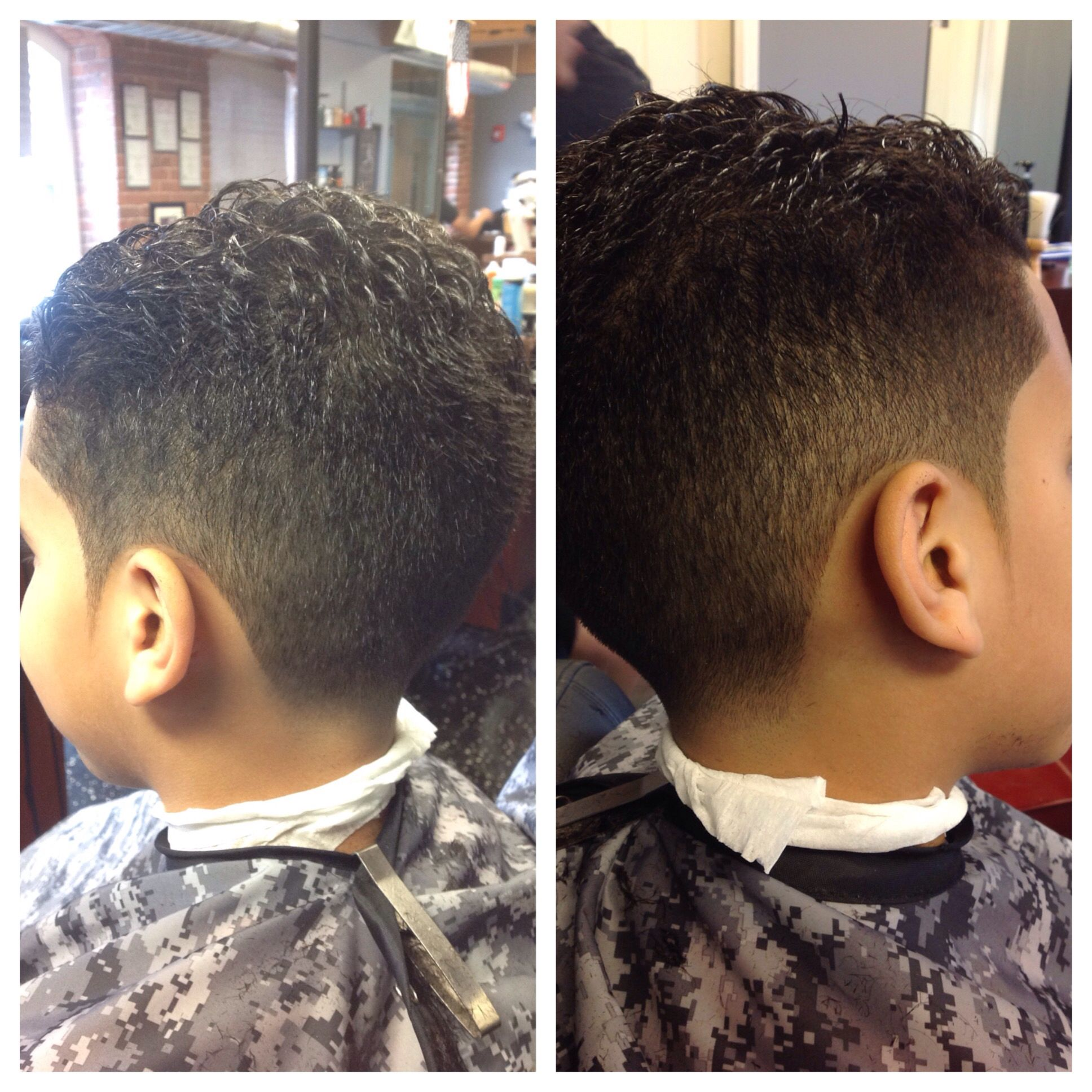 Kids haircut 1 on the sides slickback on top with a line up