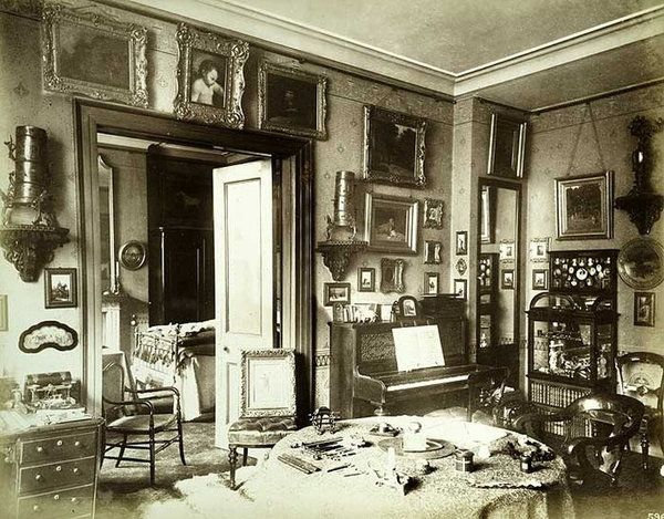 Vintage Photos From Victorian Homes Of The 1890s Parlor That Also Functioned As A Work Room Insid Victorian House Interiors Victorian Rooms Victorian Homes