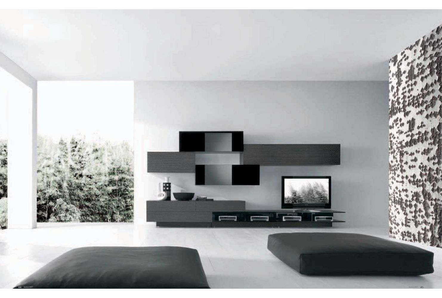 Best Collection Of Modern Living Room Wall Unit Ideas Italian Style Black TV With Rectangular Storage In And White