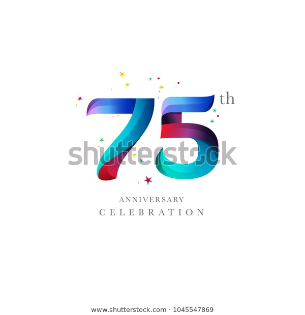 Vetor stock de 75th Anniversary Logo Design Number Digit