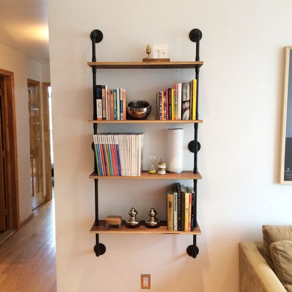 This Wall Mounted Shelving Unit Is 30 Wide 9 Deep And 65 Tall It Made Of Black Pipe Your Choice Pine Wood Walnut Plywood Shown In
