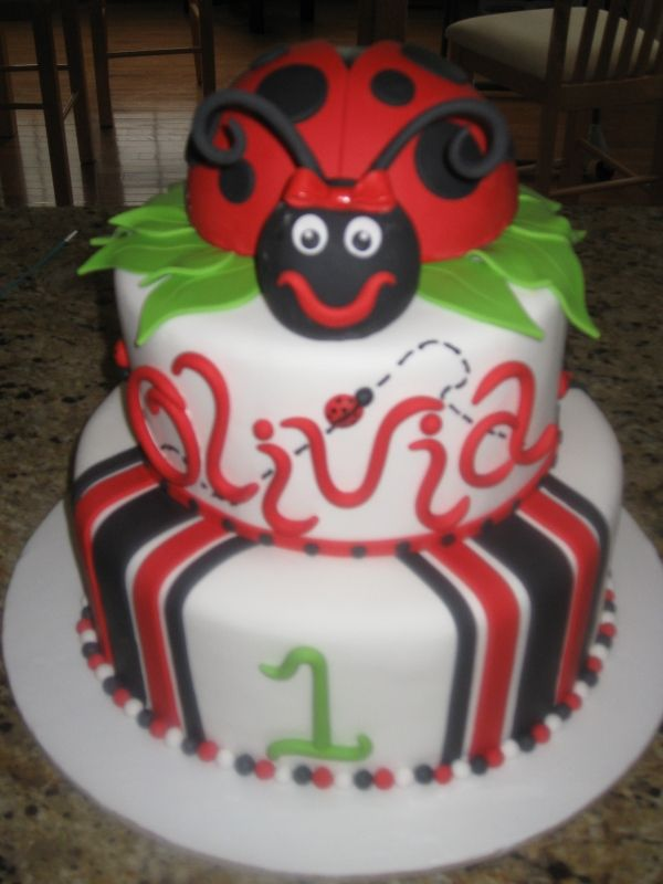 Ladybug 1st Birthday Cake Birthday Party Ideas Pinterest