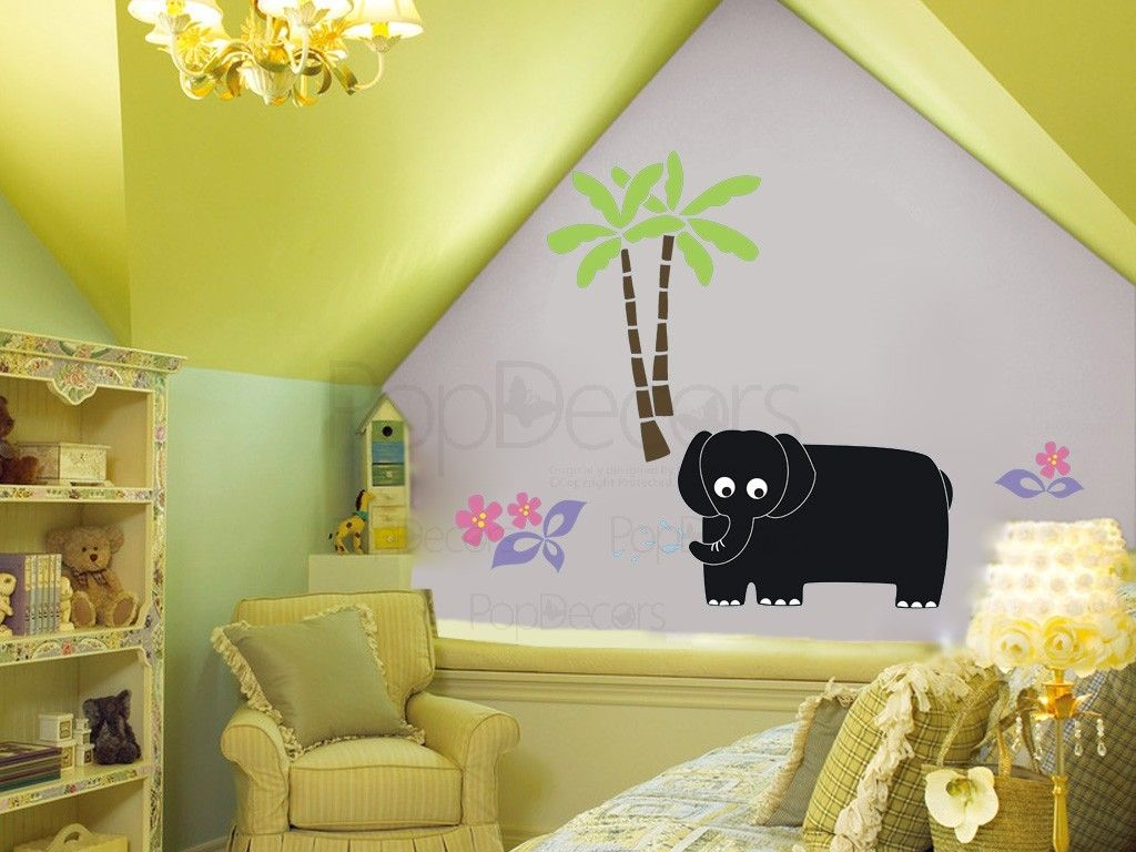 Chalkboard Decals Vinyl Art-Elephant and Coconut Tree-Play Room Wall ...