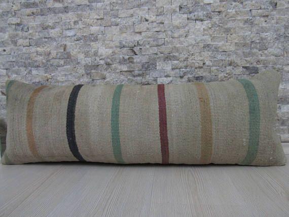 Organic Wool Kilim Pillow 12x36 Decorative Floor Pillow Kilim ...