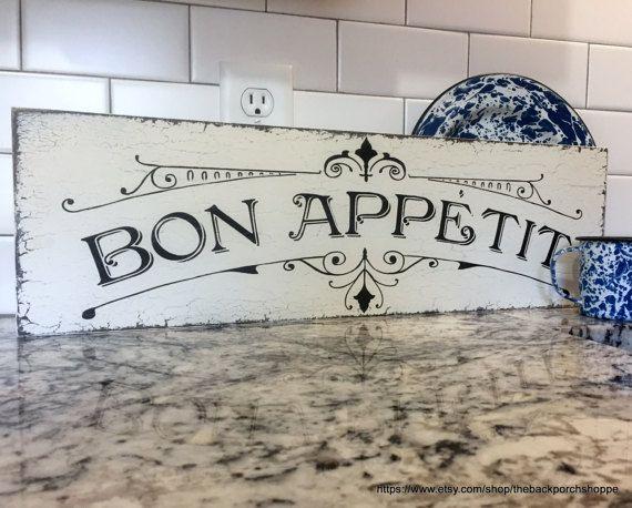 Bon Appetit French Signs Kitchen Signs Bon Appetit Signs Etsy Country Kitchen Designs French Signs Kitchen Remodel Plans
