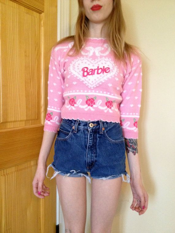 80s Barbie Cropped Pink Sweater. $28.00, via Etsy.